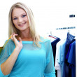 Woman in a shop buying clothes — Stock Photo #6900848