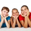 Three teenage girls together - Stockfoto