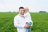 Portrait of father with son outdoor — Stock Photo