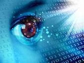 Stream of digital data and eye — Stock Photo