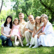 Extended family together in the park — Stock Photo