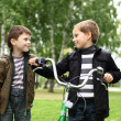 Boy on a bicycle in the green park — Stock Photo #6994012