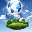 Stockfoto: Green planet against blue sky and clenature