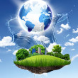 Stock Photo: Green planet against blue sky and clenature