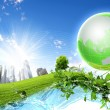 Green planet against blue sky and clean nature — Stock Photo #7020364
