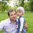 Portrait of father with daughter outdoor — Stock Photo #7020877