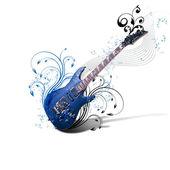 Guitar against decorative background — Stock Photo