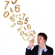 Stock Photo: Business man shouting with numbers and symbols