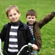 Boy on a bicycle in the green park — Stock Photo #7113877