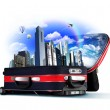 Red suitcase with city inside — Foto de Stock