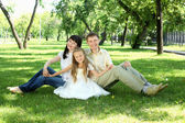 Family together in the park — Stock Photo