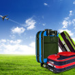 Red suitcase and plane — ストック写真