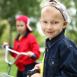 Boy on a bicycle in the green park — Stock Photo #7225838