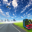 Red suitcase and plane — Stock Photo #7271160