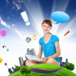 School girl and education objects and symbols - Stock Photo
