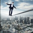 Business man balancing on the rope — Stock Photo #7271255