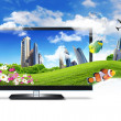 Large flat screen with nature images — Foto de stock #7354494