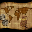 Old paper world map - Stock Photo