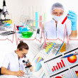 Medicine science and business collage — Stock Photo