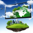 Large flat screen with nature images — Stok fotoğraf