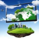 großer Flachbildschirm mit Natur-Bilder — Stockfoto