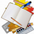 Collage of school stationery - Stock Photo