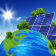 Foto Stock: Planet earth with solar energy batteries