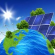 Planet earth with solar energy batteries - Stock Photo