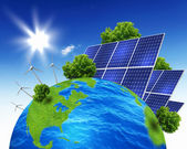Planet earth with solar energy batteries — 图库照片