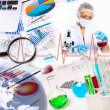 Medicine science and business collage - Stock Photo