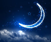 Night sky background with moon and stars — 图库照片