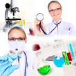 Medicine science and business collage — Foto de Stock