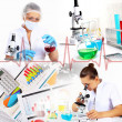 Medicine science and business collage — 图库照片