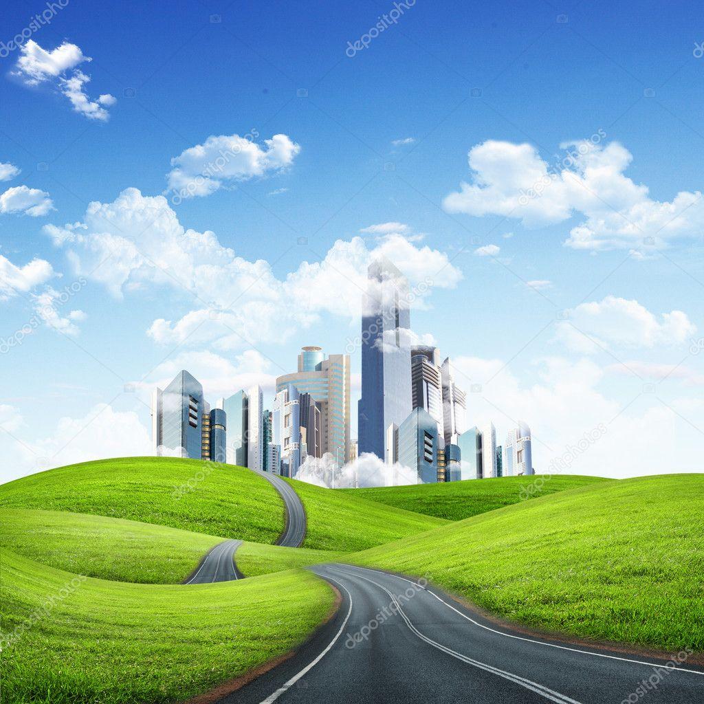 Ville moderne entour par la nature paysage photographie for La ville nature