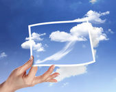 Sky with white cloudes and frames — Stock Photo