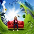 Young woman sitting on sofa nature background — Stock Photo #7613454