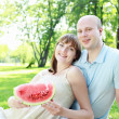 Young couple on picnic in the park — Stock Photo #7613702