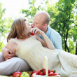 Young couple on picnic in the park — Stock Photo #7613908