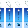 Blue labels with bussiness symbols - Stock Photo