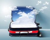Czerwoną walizkę z snowy góry wewnątrz — Zdjęcie stockowe
