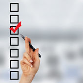 Check list with red mark — Stock Photo