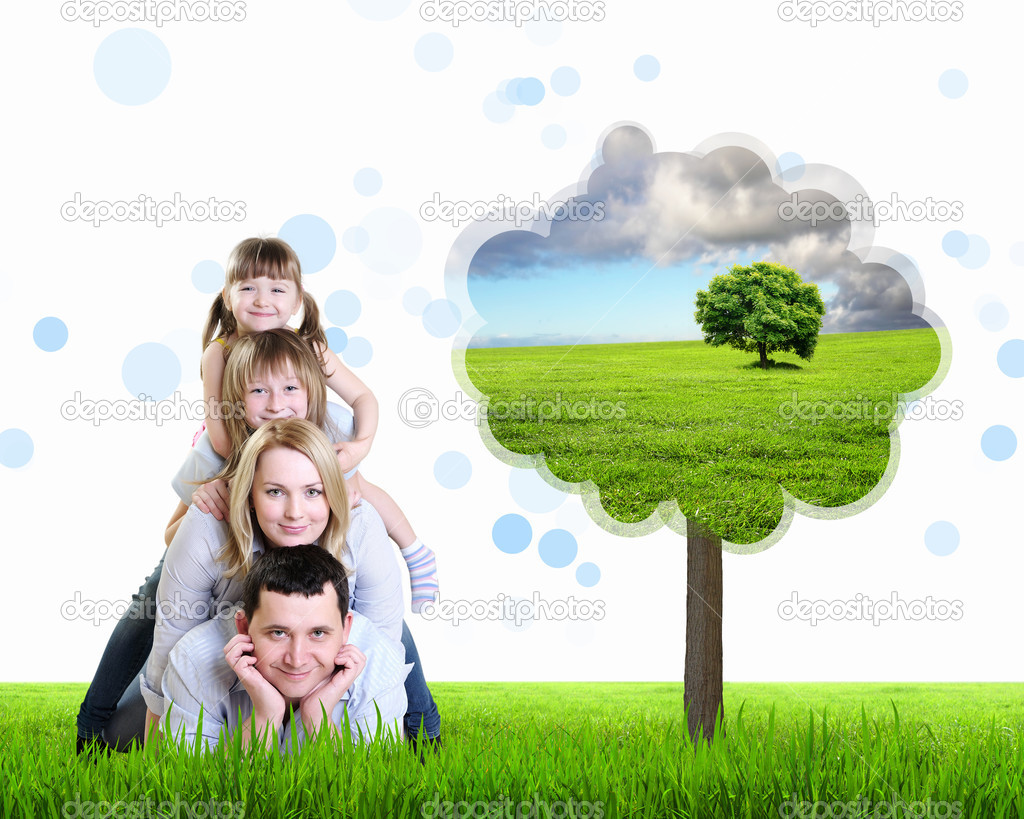 Happy family spending time together outdoors. Collage.  Stockfoto #7738545