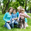 Portrait of children with mother and grandmother - Stock Photo
