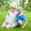 Portrait of two boys outdoors — Foto Stock