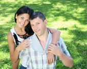 Couple spending time together in the summer park — Stock Photo
