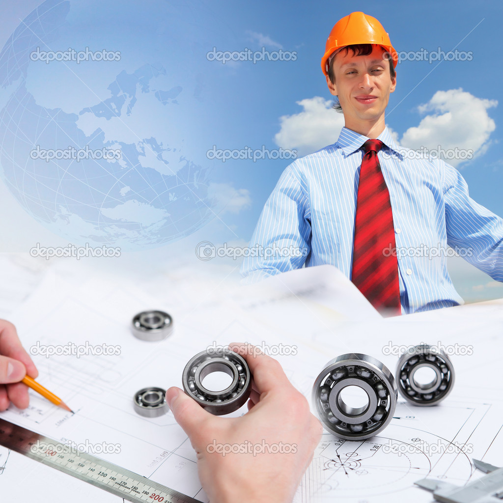 Collage with a business person and construction images — Stock Photo #7789228