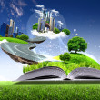 Stock Photo: Open book with green nature world