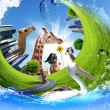 Green world with different animals collage - 