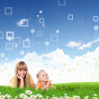 Collage with children and parents on green grass — Stock Photo #7790831