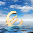 Royalty-Free Stock Photo: Currency symbols floating in blue sea